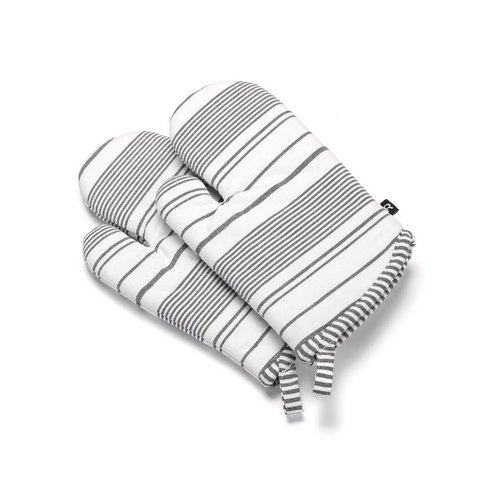 Black Striped Oven Mitts