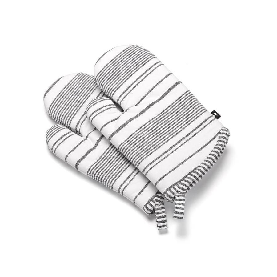 White Oven Mitts white Black Stripes - Photo 0