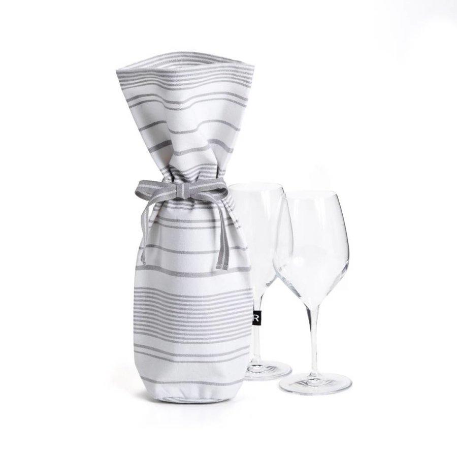 White Wine Bag with Grey Stripes - Photo 0