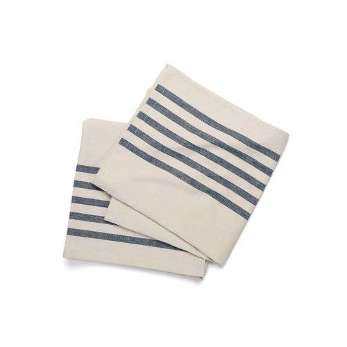 Serviettes de table chambray à fines rayures