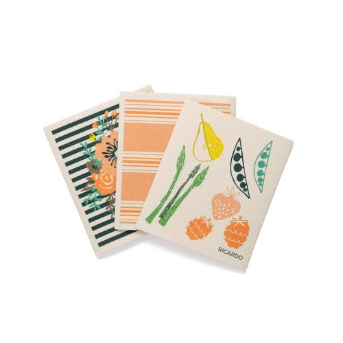 "Fantastic Dishcloths with ""Fruits and Vegetables"" Print"