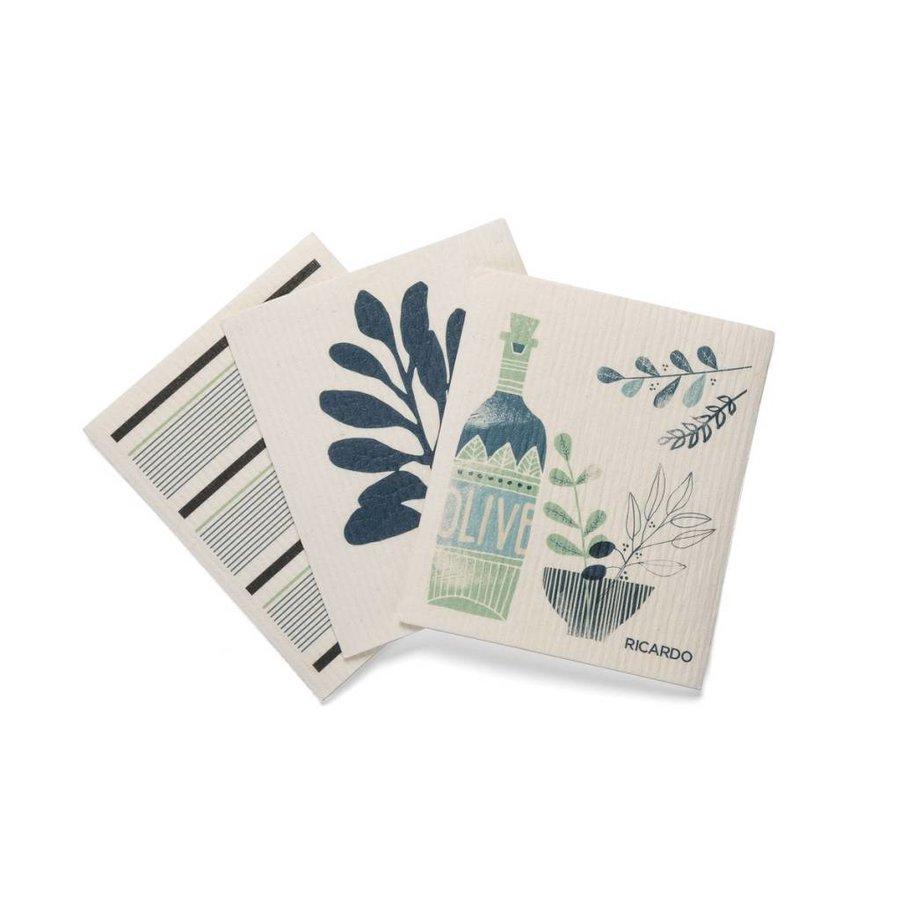 "Set of 3 Fantastic Dishcloths with ""Olive"" Print - Photo 0"
