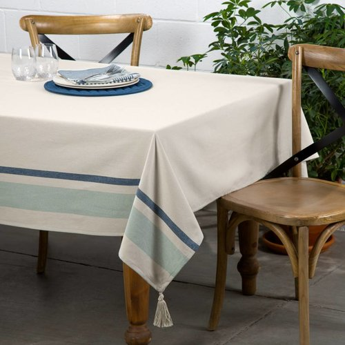 Nappe chambray à rayures bleues