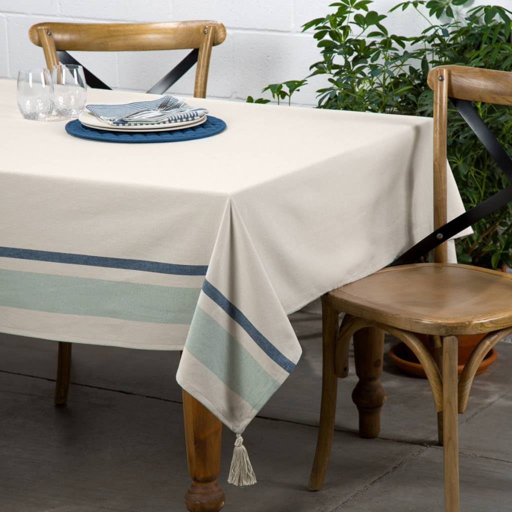 Chambray Tablecloth with Blue Stripes