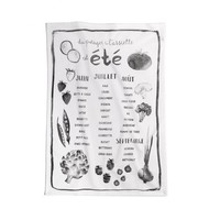 "Black and White Tea Towel ""Summer garden"""