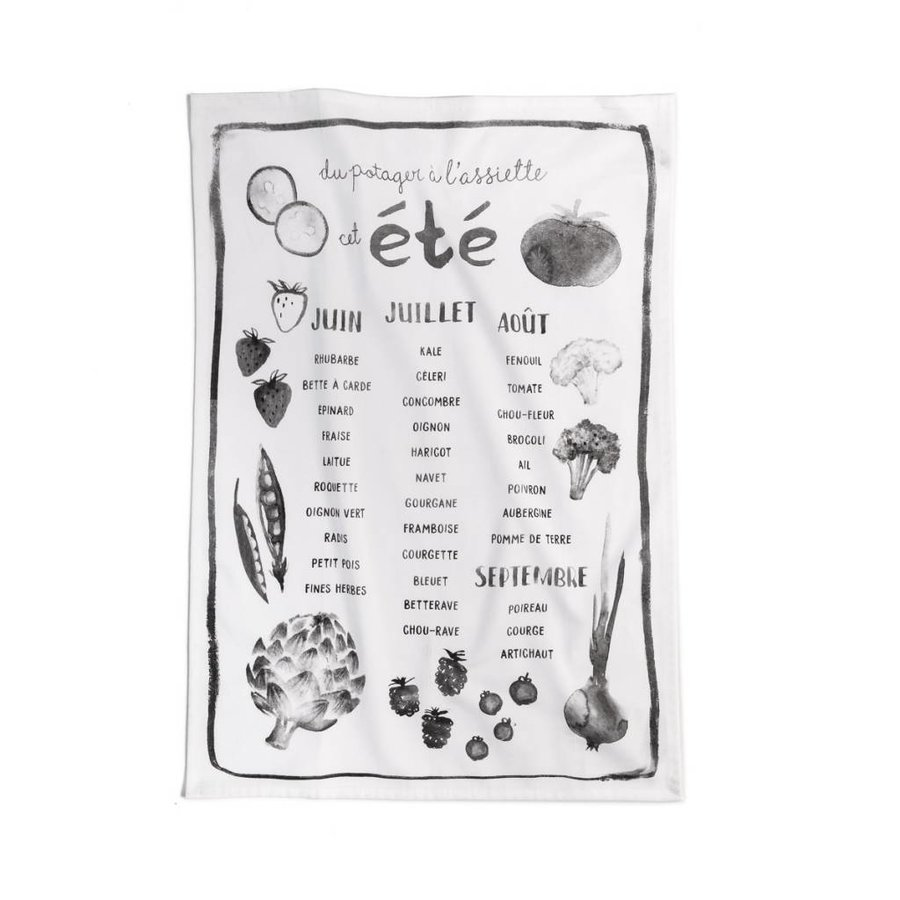 "Black and White Tea Towel ""Summer garden"" - Photo 0"
