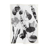 """Black and White Tea Towel """"Summer Fruits and Vegetables"""""""