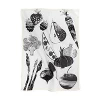Linge à vaisselle noir et blanc « Fruits et légumes d'été »