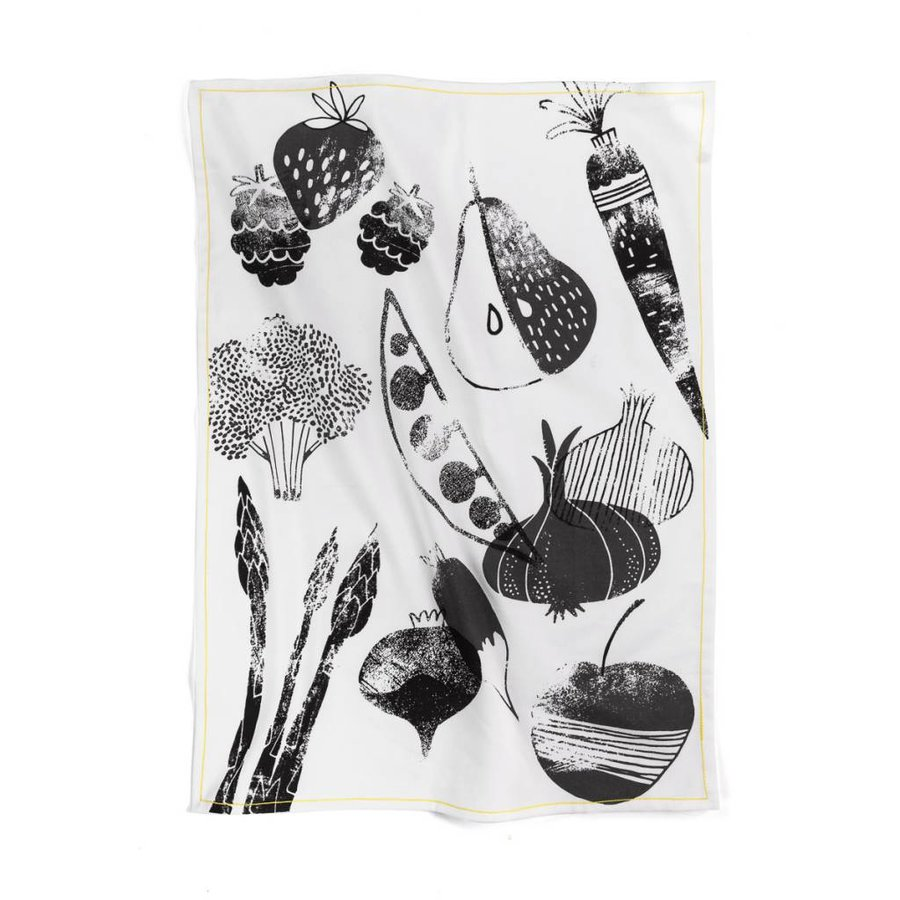 """Black and White Tea Towel """"Summer Fruits and Vegetables"""" - Photo 0"""
