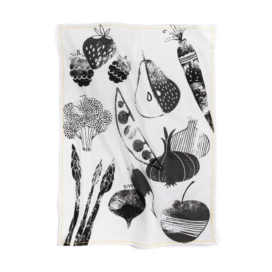Linge à vaisselle noir et blanc « Fruits et légumes d'été » - Photo 0