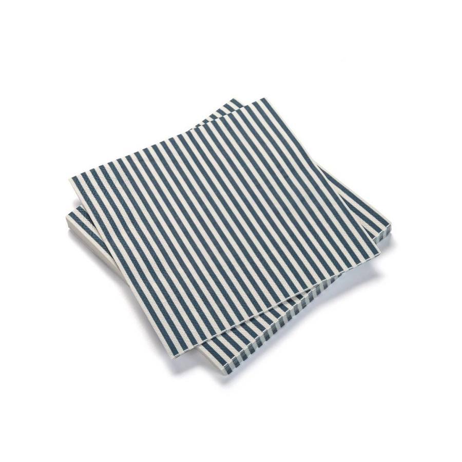Serviettes de table en papier à rayures bleues - Photo 0