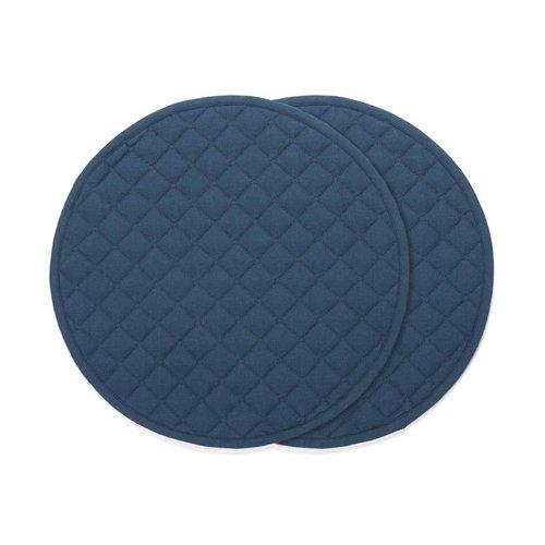 Napperons ronds bleu marine