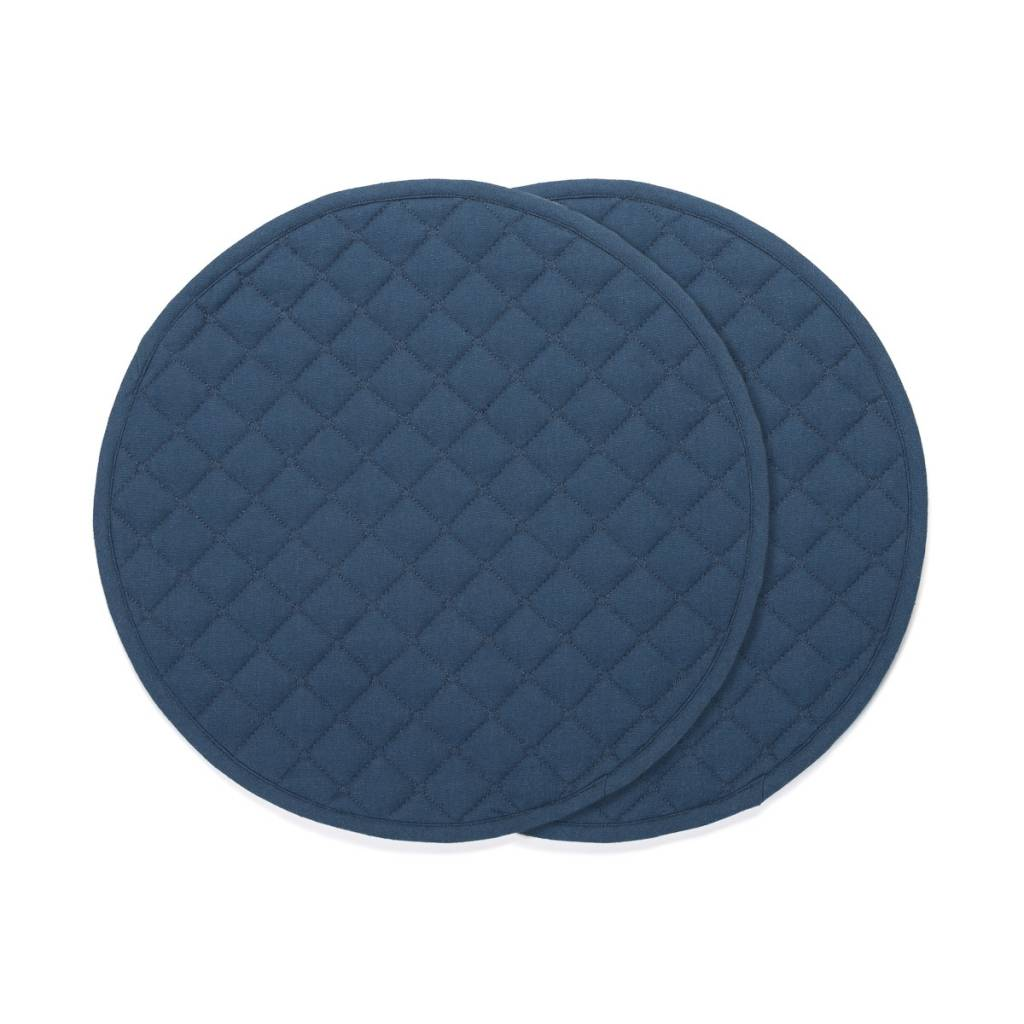 Round Navy Blue Placemats