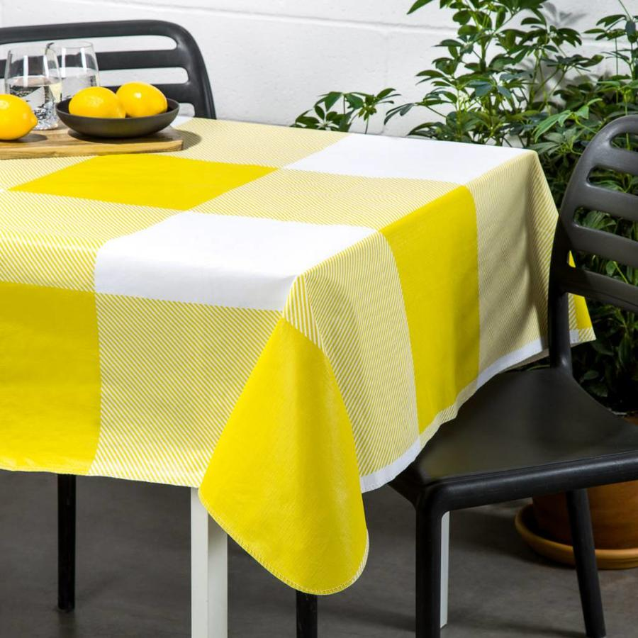 Nappe en plastique jaune à carreaux - Photo 0