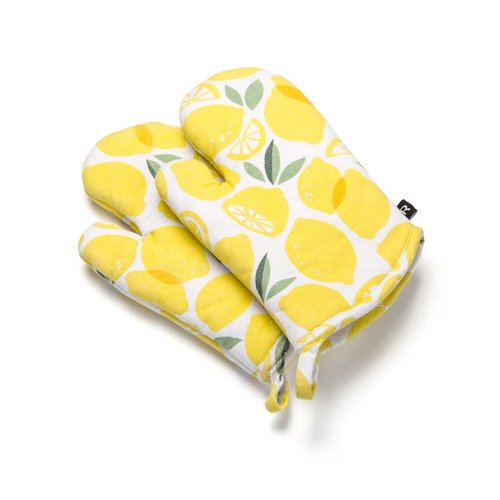 Oven Mitts with Lemon Print