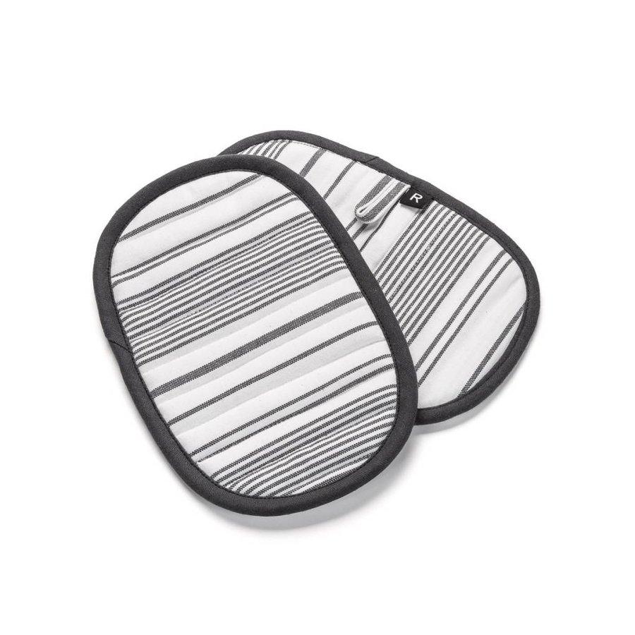 White Pot holders with Black Stripes - Photo 0