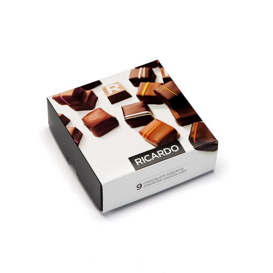 Boîte de chocolats assortis de 9 morceaux - Photo 0
