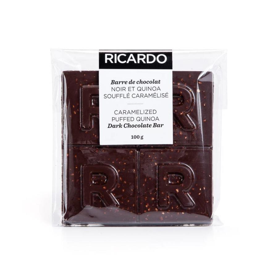 Large caramelized puffed quinoa dark chocolate bar, 100 g - Photo 1