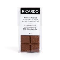 Petite barre de chocolat au lait et quinoa soufflé caramélisé de 35 g