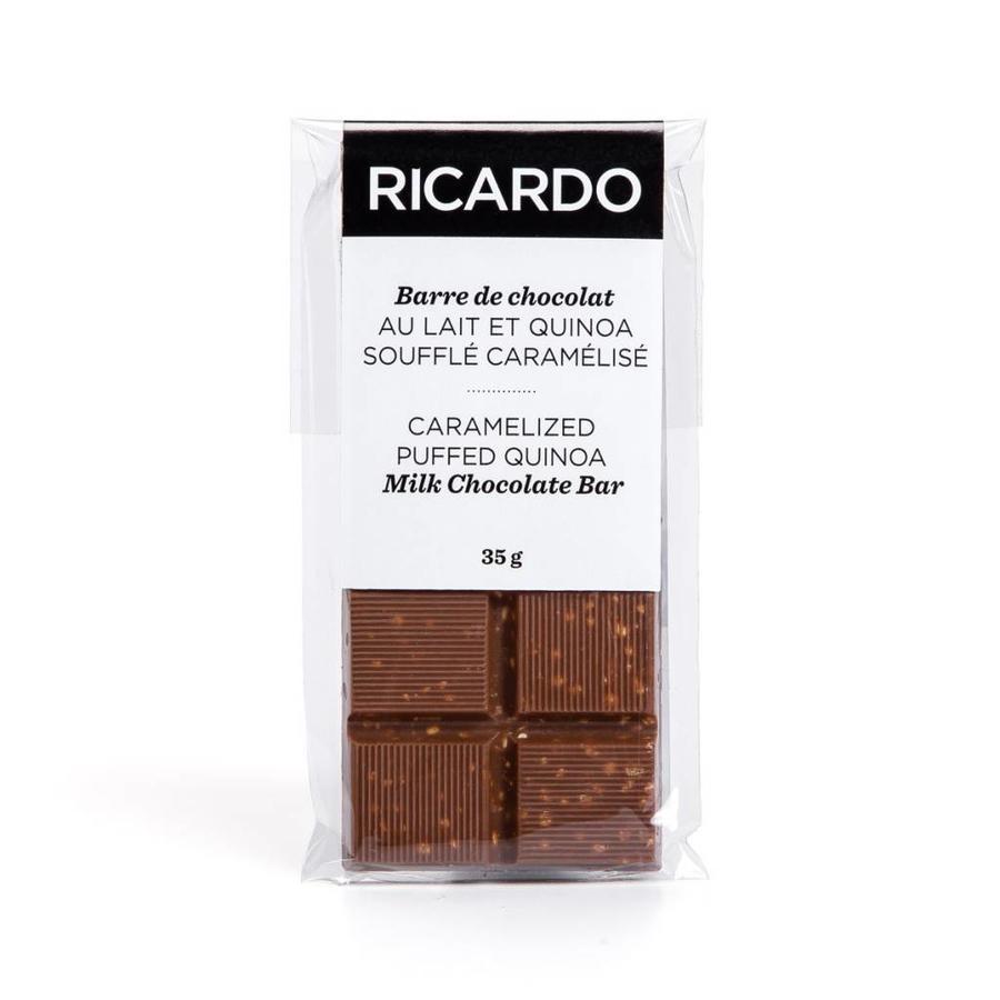 Petite barre de chocolat au lait et quinoa soufflé caramélisé de 35 g - Photo 1