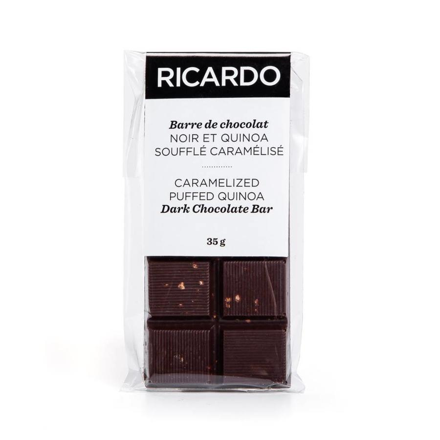 Small caramelized puffed quinoa dark chocolate bar, 35 g - Photo 1