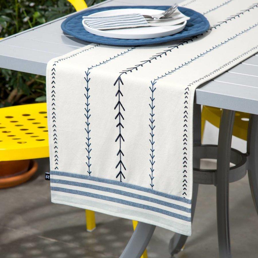 Chemin de table chambray à rayures tissées et à broderies fléchées - Photo 0