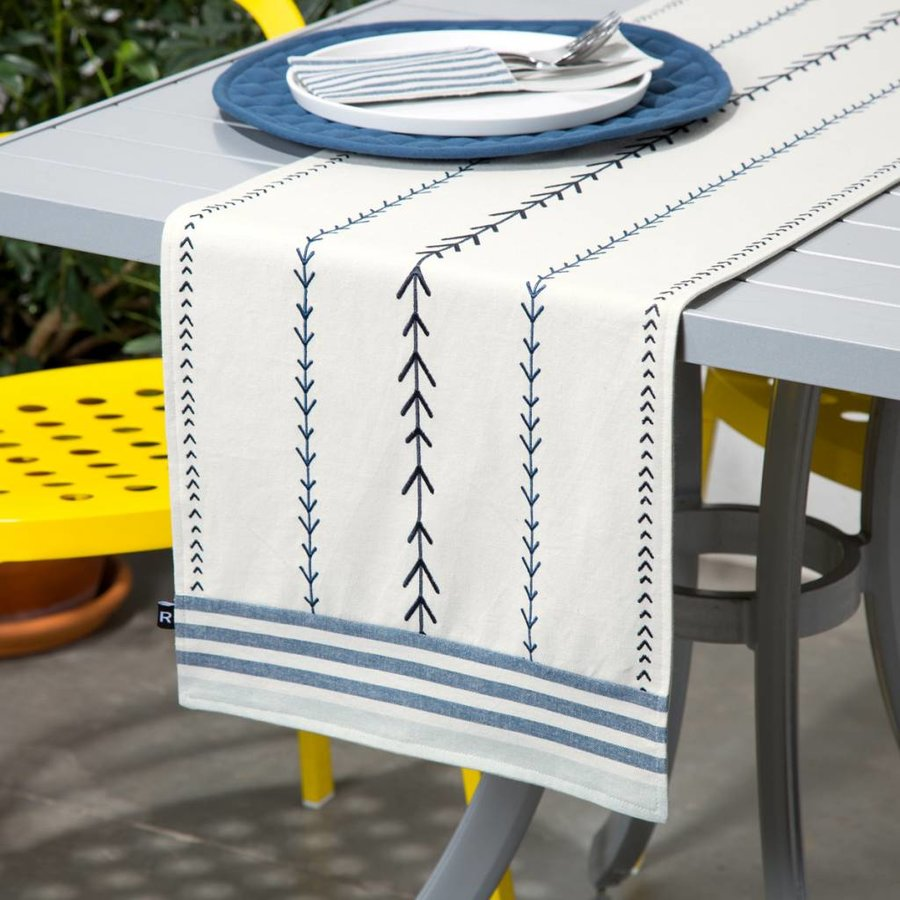 Embroidered Chambray Table Runner with Woven Stripes - Photo 0