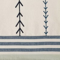 Embroidered Chambray Table Runner with Woven Stripes