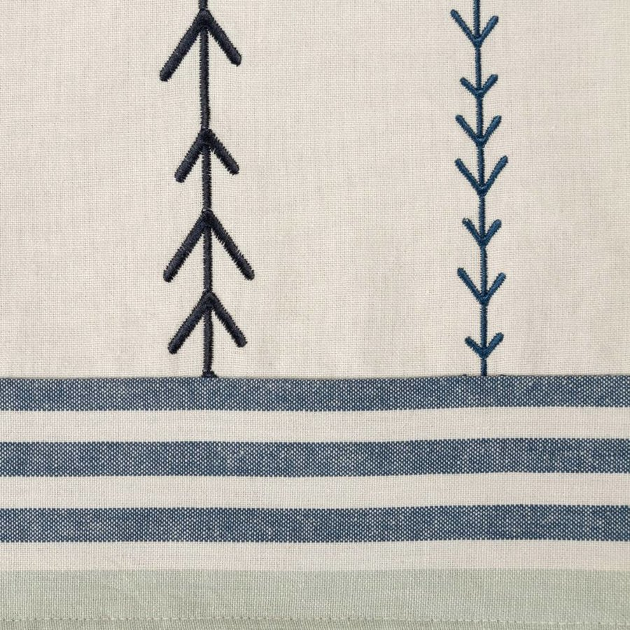 Embroidered Chambray Table Runner with Woven Stripes - Photo 1