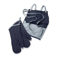 Denim apron and oven-mitt set
