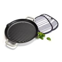 Enamelled grill pan and pot holder set