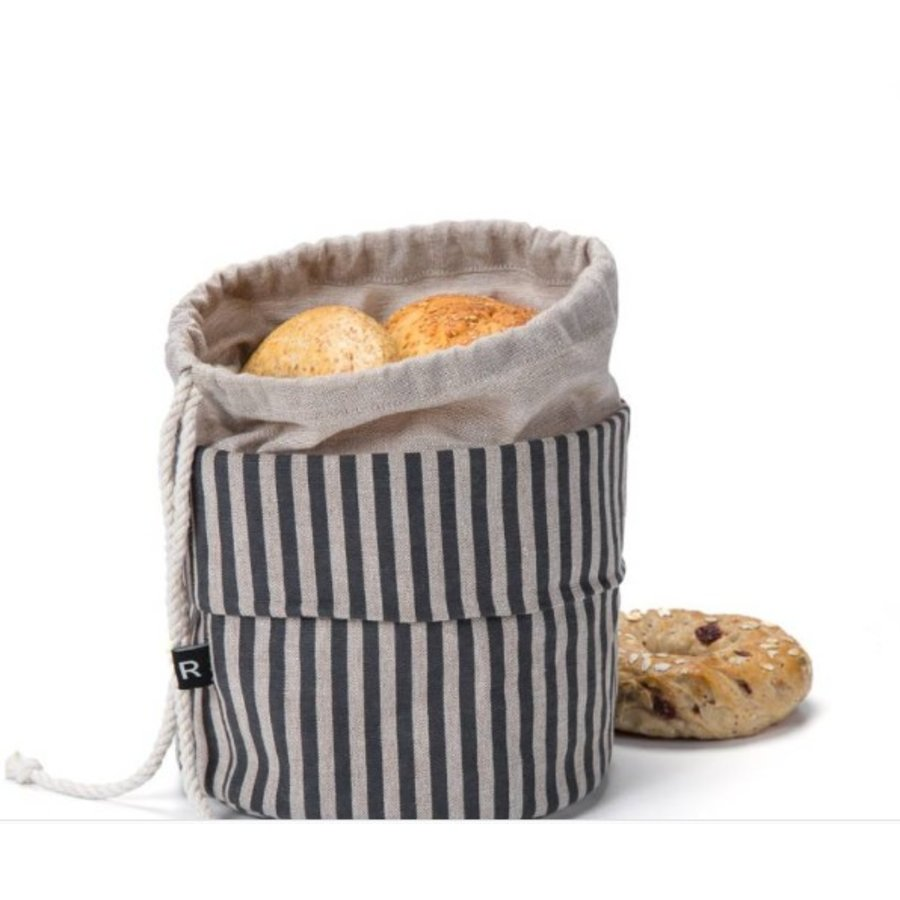 Sac à pain chaud rayé noir et chambray - Photo 2