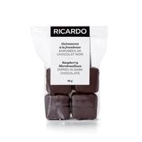 Guimauves à la framboise enrobées de chocolat noir