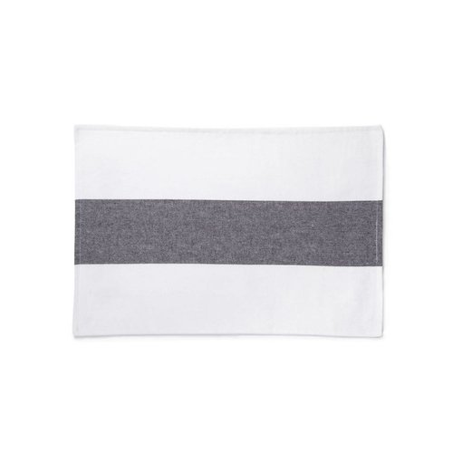 White Placemats with Wide Grey-Black Stripe