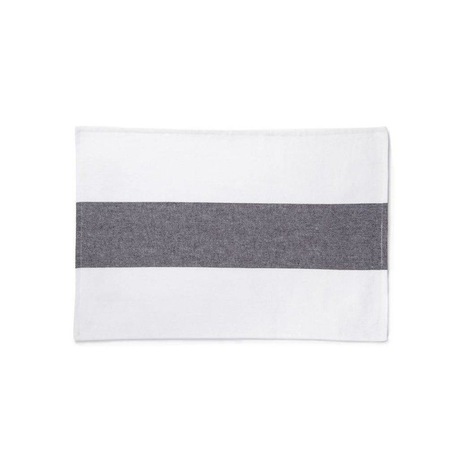 White Placemats with Wide Grey-Black Stripe - Photo 0