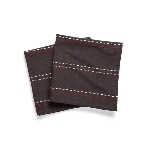 Black Table Napkins with Topstitch Stripes