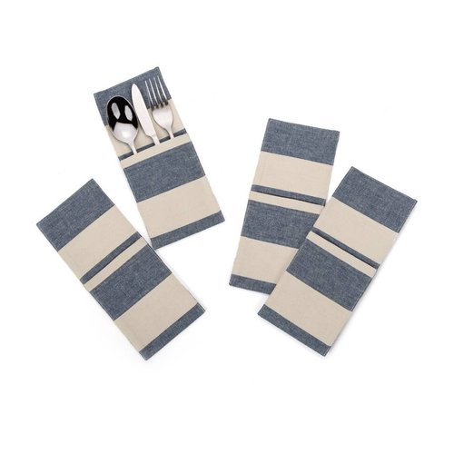 Chambray Utensil Pockets with Large Stripes