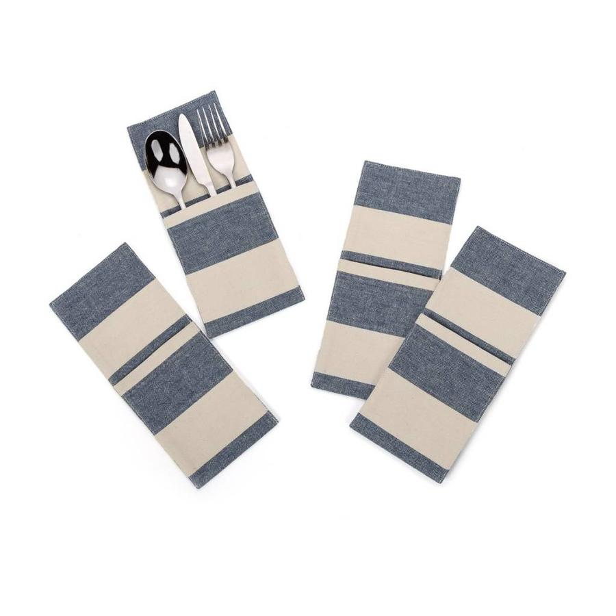 Chambray Utensil Pockets with Large Blue Stripes - Photo 0