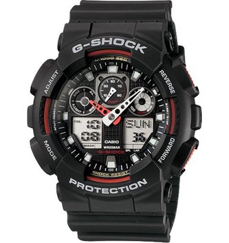 GSHOCK WATCHES GS-GA100-1A4 GS BIG CASE ANADIGI BLACK/RED
