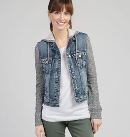 SILVER JEANS KNIT HOODED DENIM JACKET