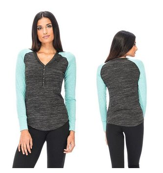 Red Dragon Apparel RDS WOMENS L/S HENLEY ZENITH