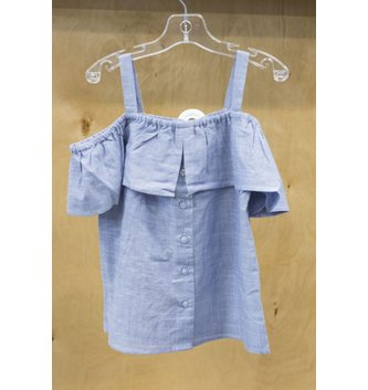 DEX JEANS COLD SHOULDER BUTTON FRT TOP