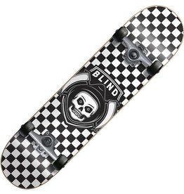 BLIND SKATEBOARDS BLIND REAPER CHECKER YOUTH BLACK WHITE COMPLETE 6.75