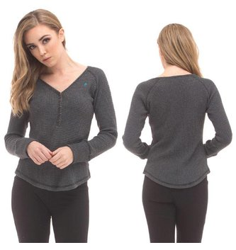 Red Dragon Apparel RDS WOMENS LONG SLEEVE HENLEY HONEYCOMB