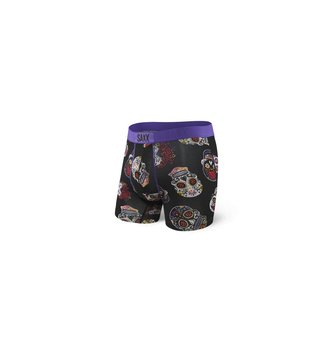 SAXX UNDERWEAR VIBE BOXER FLY BLACK DAY OF THE DEAD L