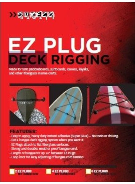 SURF CO. HAWAII Surf Co. Hawaii Ez-Plug Deck Rigging Kit 6 x Ez Plugs w/12' bungee