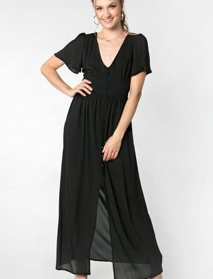 Everly Everly Dress S/Slv V Neck Button Up Maxi