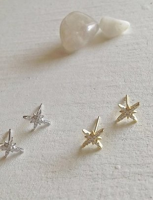 Pika & Bear 'Arcturus' Starburst Pave Stud Earrings
