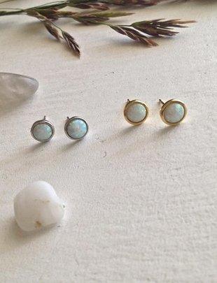 Pika & Bear 'Ingred' Opal Cabochons Earrings