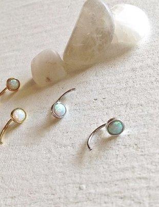 Pika & Bear 'Sidewinder' Opal Crescent Stud Earrings